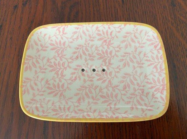 Seifenschale POR131 TQ eckig weiß-rosa